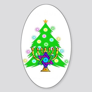 Christmas Hanukkah Interfaith Sticker (Oval)